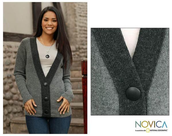 Women's Alpaca Wool 'Grey Tuxedo' Cardigan Sweater (Peru)