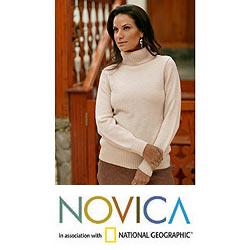 Women's Alpaca Wool 'Winter Ivory' Sweater (Peru)