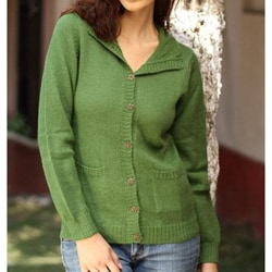 Women's Alpaca Wool Blend 'Spearmint' Cardigan Sweater (Peru)