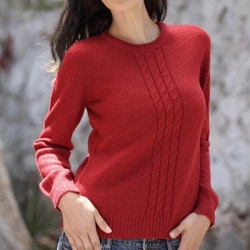 Women's Alpaca Wool 'Andean Fire' Sweater (Peru)