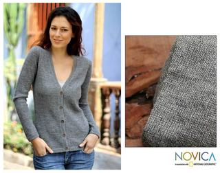 Women's Alpaca Wool 'Andean Mist' Cardigan Sweater (Peru)