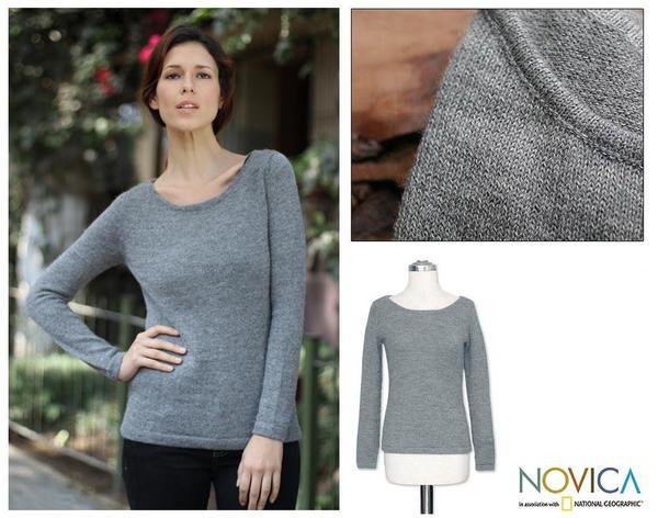 Women's Alpaca Wool 'Silver Charm' Sweater (Peru)