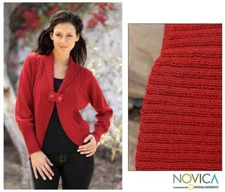 Women's Alpaca Wool 'Red Rose' Cardigan Sweater (Peru)