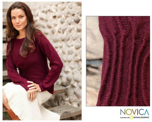 Women's Alpaca Wool 'Burgundy Flirt' Sweater (Peru)