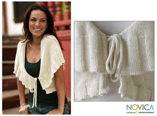 Women's Alpaca Wool 'Ruffled Cream' Sweater (Peru)