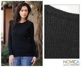 Women's Alpaca Wool 'Ebony Charm' Sweater (Peru)