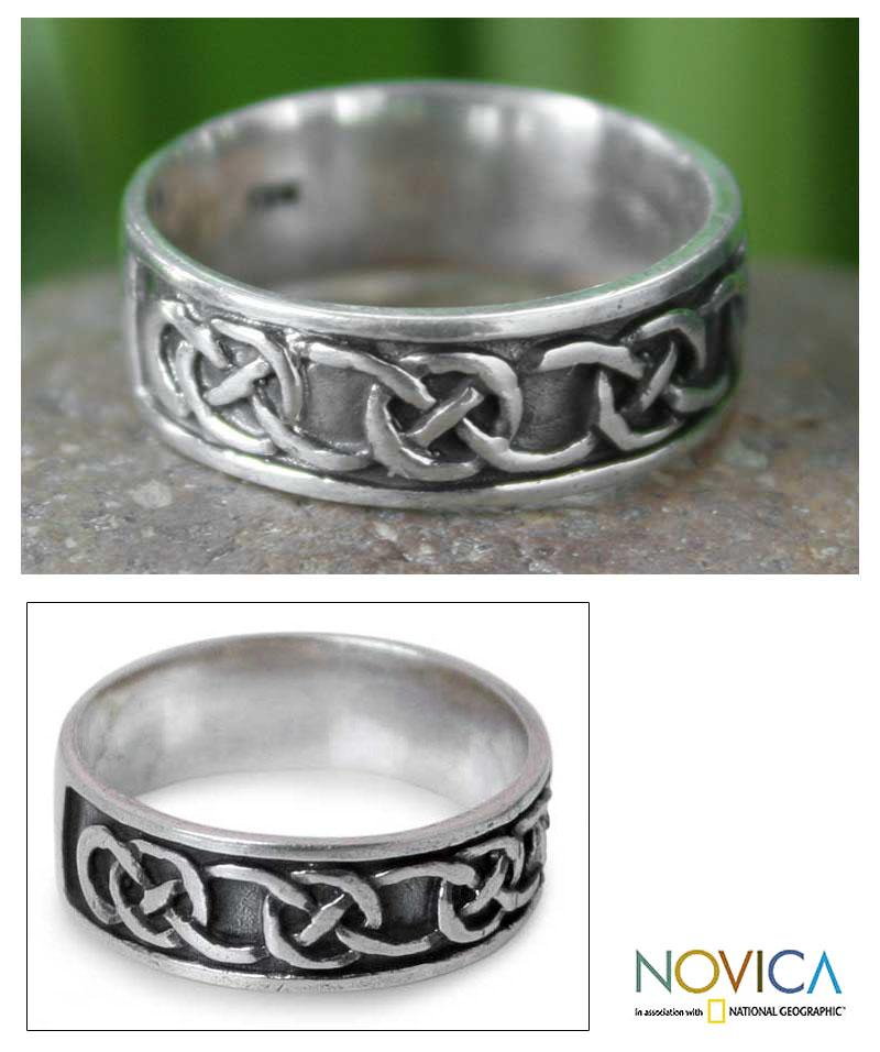 Men's Sterling Silver 'Love's Geometry' Band (Thailand)