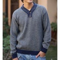 Men's Alpaca Wool 'Grey Day' V-neck Sweater (Peru)