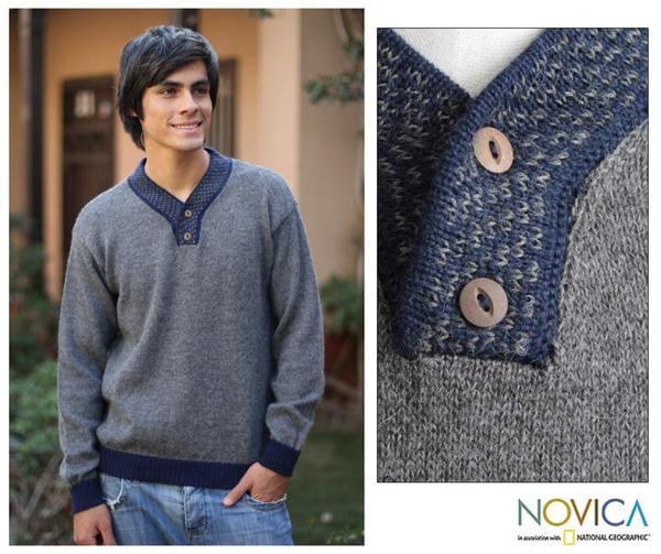 Men's Alpaca Wool 'Grey Day' V-neck Sweater (Peru)