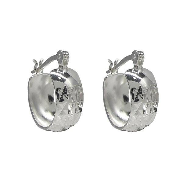 Sunstone Sterling Silver Textured Wide Hoop Earrings