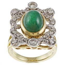 18k Yellow Gold 7/8ct TDW Diamond and Emerald Estate Ring (J-K, I1-I2)