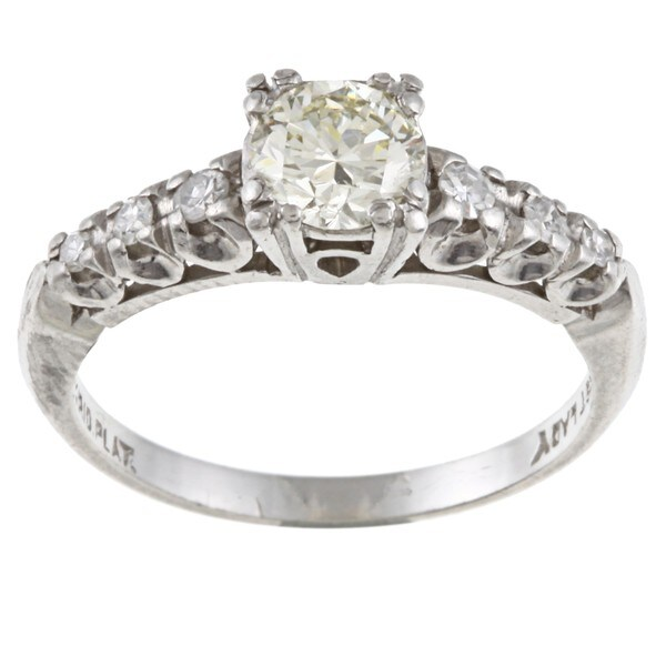 Platinum 7/8ct TDW Diamond Estate Engagement Ring (L-M, VS1-VS2)