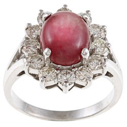 14k White Gold Ruby and 1 1/4ct TDW Diamond Estate Ring (J-K, VS1-VS2)