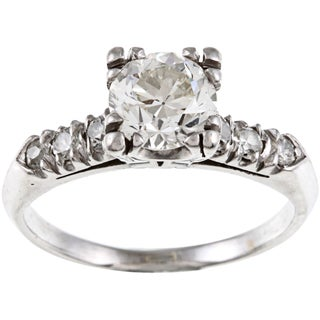 Pre-owned Platinum 1 1/3ct TDW Vintage Engagement Ring (I-J, VS1-VS2)