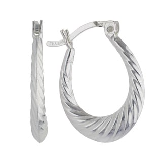 Sunstone Sterling Silver Twist Design Hoop Earrings