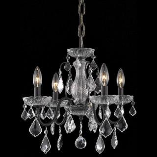 Somette Crystal 4-light Dark Bronze Chandelier