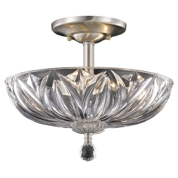 Somette Crystal 3-light Chrome Flush-mount Chandelier