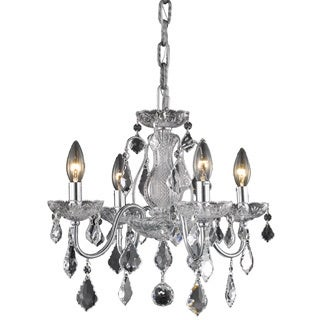 Christopher Knight Home Crystal Four-Light Chrome Chandelier with Hardwired Switch