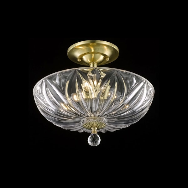 Somette Crystal 3-light Gold Flush-mount Chandelier