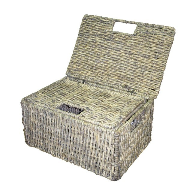 Woven Grass Grey Rectangular Lidded Storage Baskets (Set of 2)