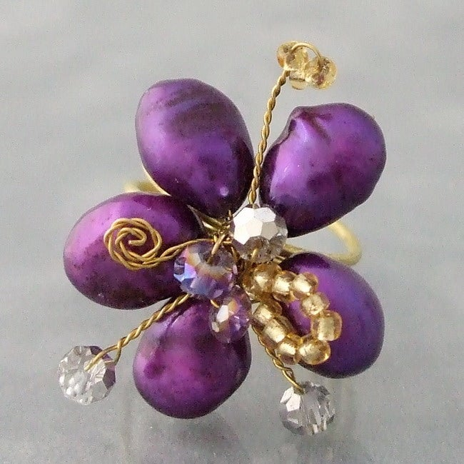 Goldtone Violet Pearl and Crystal Floral Adjustable Ring (Thailand)