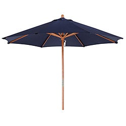 Premium 9-foot Round Navy Blue Wood Patio Umbrella