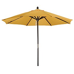 Premium 9-foot Round Yellow Wood Patio Umbrella