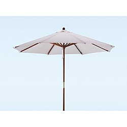 Premium 9-foot Round Natural White Wood Patio Umbrella