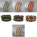 Set of 3 Brass and Gemstone Bead Link Bracelets (Thailand)