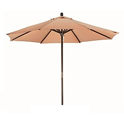 Premium 9-foot Round Antique Beige Wood Patio Umbrella