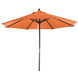 Premium 9-foot Round Tuscan Orange Wood Patio Umbrella
