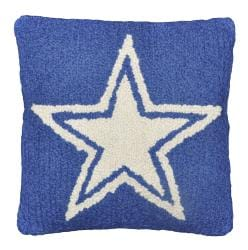 Ivory Star Blue Wool Hooked Pillow