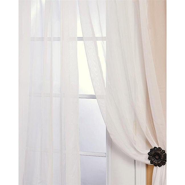 Off White Poly Voile 120-inch Sheer Curtain Panel Pair