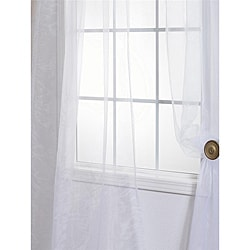 White Poly Voile 120-inch Sheer Curtain Panel Pair