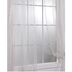 Off White Faux Organza Sheer Curtain Panel Pair