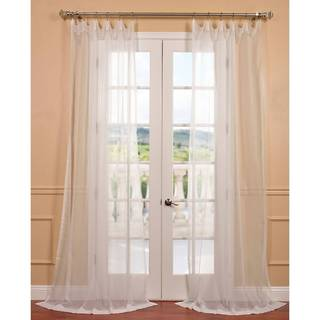 Off White Poly Voile Sheer Curtain Panel Pair