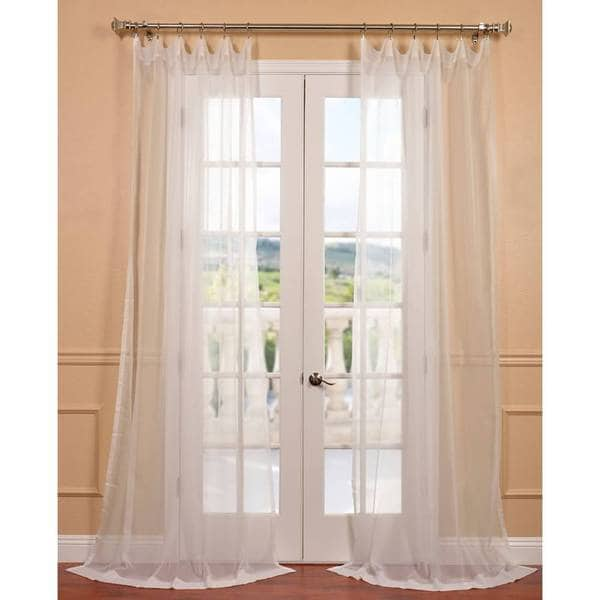 EFF Off White Poly Voile Sheer Curtain Panel Pair