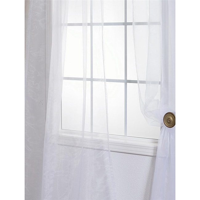 White Faux Organza 108 Inch Sheer Curtain Panel Pair Overstock Shopping Great Deals On Eff