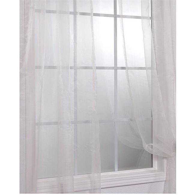 Exclusive Fabrics Off White Faux Organza 108-inch Sheer Curtain Panel Pair