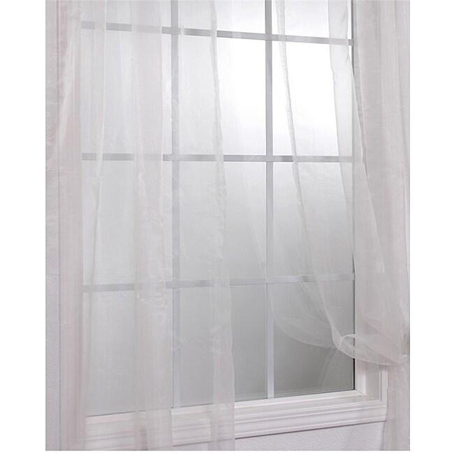 Off White Faux Organza 84-inch Sheer Curtain Panel Pair
