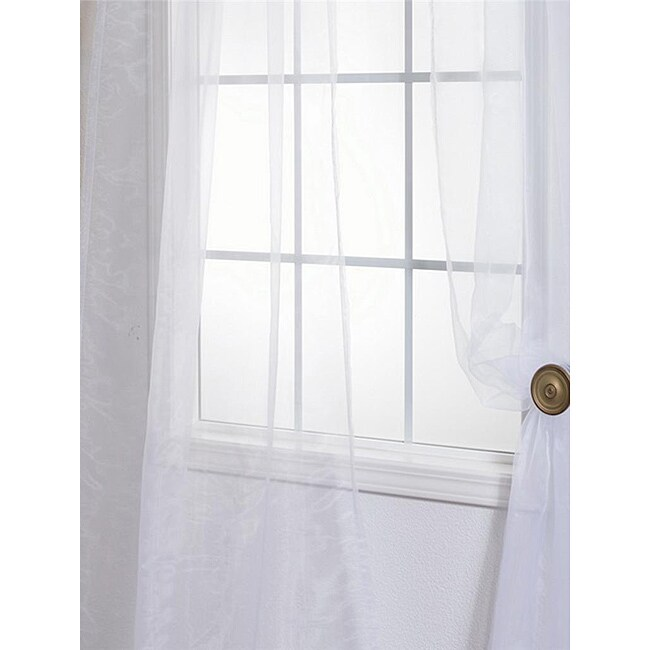 White Poly Voile 84-inch Sheer Curtain Panel Pair
