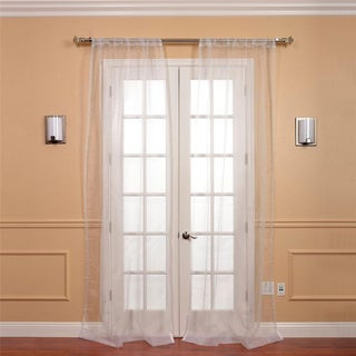 EFF White Faux Organza Sheer Curtain Panel Pair