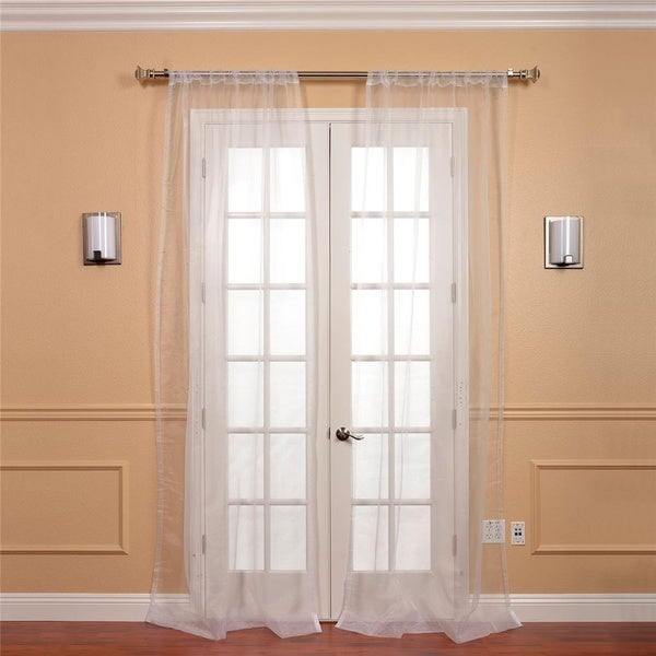 White Faux Organza Sheer Curtain Panel Pair