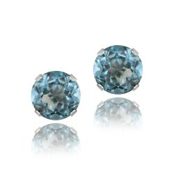 Glitzy Rocks 14k White Gold 3 1/5ct TGW 7mm London Blue Topaz Stud Earrings