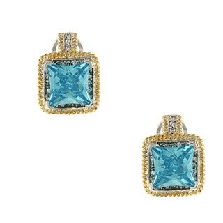 La Preciosa Silver and Goldtone Large Square Blue CZ Earrings