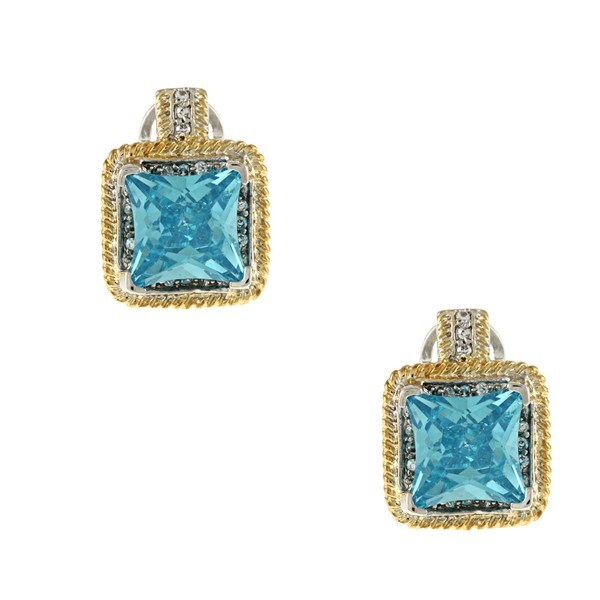 La Preciosa Silver and Goldtone Large Square Blue CZ Earrings