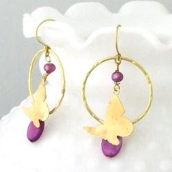 Goldtone Mother of Pearl and Purple Pearl Butterfly Earrings (4 mm)(Thailand)