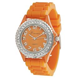 Tressa Women's Rhinestone-Accented Orange Silicone Watch