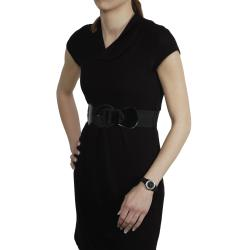Tressa Women's Rhinestone-Accented Black Silicone Watch