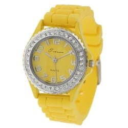 Tressa Women's Rhinestone-Accented Yellow Silicone Watch